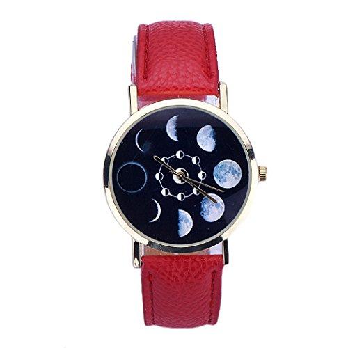 Vovotrade Mond Eklipsen Muster Leder analoge Rot