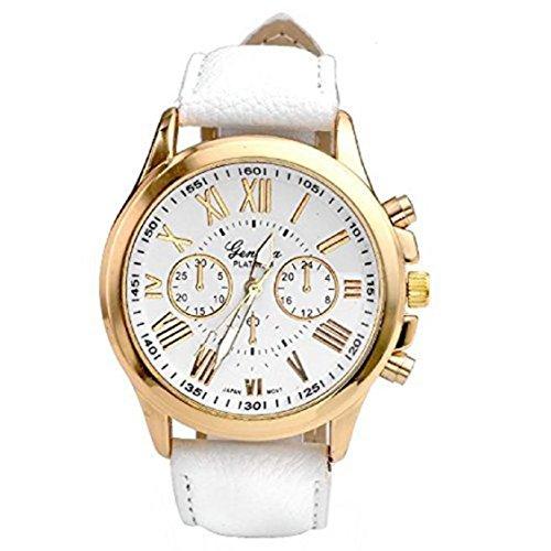Vovotrade New Womens Fashion Roman Numerals Faux Leather Analog Quartz Wrist Watch Weiss