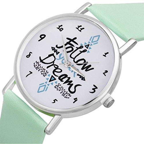 Vovotrade Frauen folgen Traeume Wort Muster Leder Uhr Minzgruen