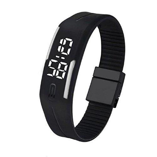 Vovotrade Frauen der Maenner Gummi LED Uhr Datum Sports Armband Weiss