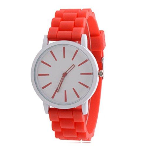 Vovotrade Genf Silikon Gummi Gelee Gel Quarz analoge Sport Frauen Armbanduhr Unisex Rot