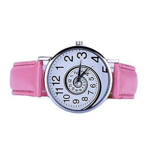 Vovotrade Uhren Damen Swirl Grafik Faux Leder Band analog Quartz Movement Rosa
