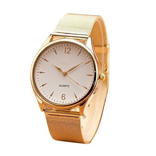 Vovotrade Mode Womens Classic Gold Quarz Edelstahl Armbanduhr Weiss