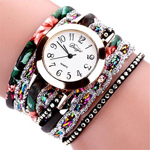 Vovotrade Duoya Marke 2016 Neue Uhren Frauen Blumen populaeres Quarz Uhr Blumen Edelstein Armbanduhr Kleid Dame Gift Schwarz