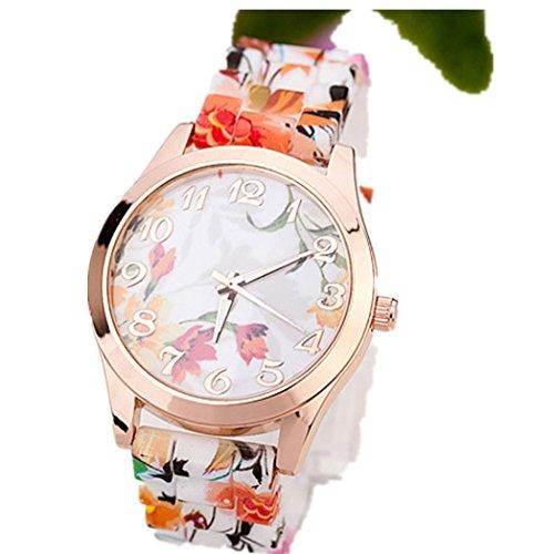 Vovotrade Uhren Damen Silikon gedruckt Blume Causal en D
