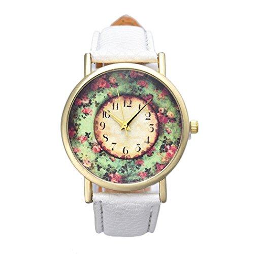 Vovotrade Uhren Damen Kleine Blumenmuster Leder Uhr Leder band analoge Quarz B