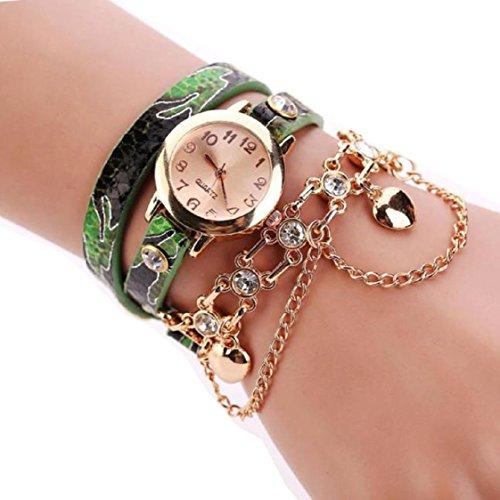 Vovotrade Frauen Leder Strass Niet Ketten Quarz Armband Armbanduhr Uhr Gruen