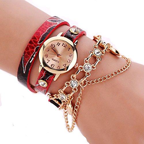Vovotrade Frauen Leder Strass Niet Ketten Quarz Armband Armbanduhr Uhr Rot