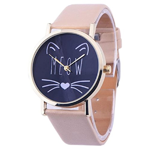 Vovotrade Leder Band Analog Quarz Mode Armbanduhren Beige