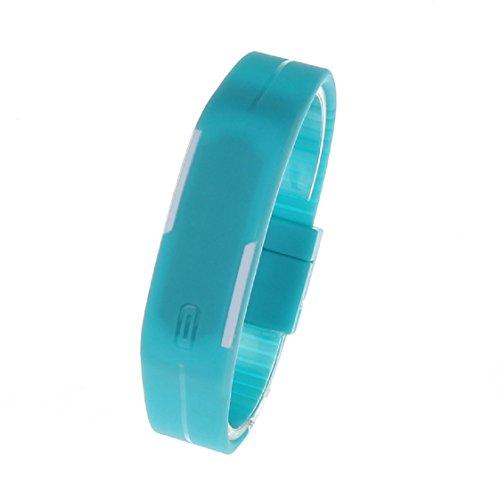 Vovotrade Ultra Thin Men Maedchen Sport Silikon Digital LED Sport Armband Armbanduhr Blau
