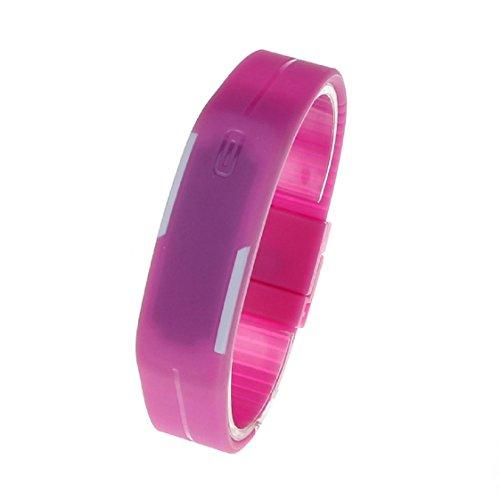 Vovotrade Ultra Thin Men Maedchen Sport Silikon Digital LED Sport Armband Armbanduhr Rosa