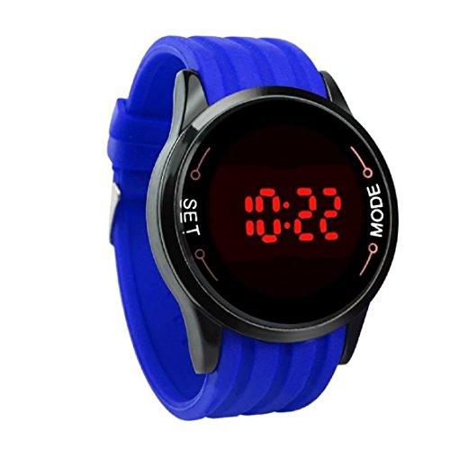 Vovotrade Wasserdichte Mode LED Touch Screen Datum Silikon Handgelenk Black Watch Blau