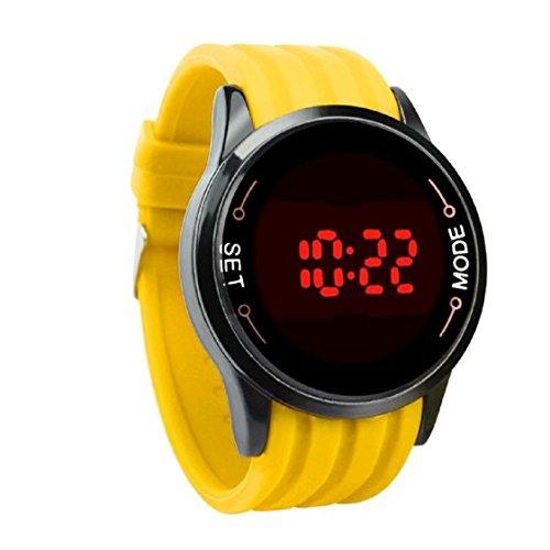 Vovotrade Wasserdichte Mode LED Touch Screen Datum Silikon Handgelenk Black Watch Gelb