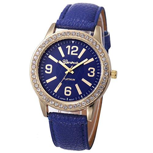 Vovotrade Damen Watches Stainless Steel Analog Leather Quartz Wrist Watch Navy blau