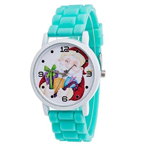 Vovotrade Weihnachtsgeschenke Uhr Suessigkeit Farbe maennliche und weibliche Silikon Buegel Armbanduhr Gruen