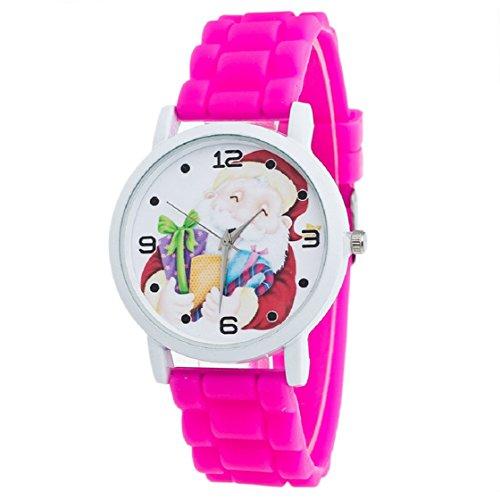 Vovotrade Weihnachtsgeschenke Uhr Suessigkeit Farbe maennliche und weibliche Silikon Buegel Armbanduhr Hot Pink