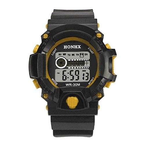 Vovotrde Mens LED Digital Alarm Wasserdichtes Gummisport Armee Uhr Armbanduhr Gelb