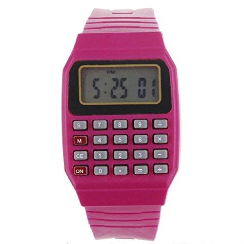 Vovotrde Unsex Silikon Multi Purpose Datum Zeit elektronische Armbanduhr Rechner Uhr Rot