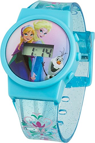 Frozen Kinder Digital Armbanduhr mit Digital Display und Pink Zifferblatt blau Kunststoff Gurt froz32