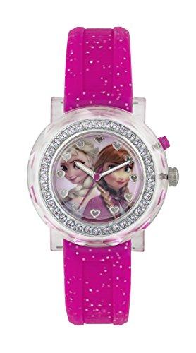 Frozen Maedchen Quarz Uhr mit Pink Zifferblatt Analog Anzeige und Pink Rubber Strap fzn3565d