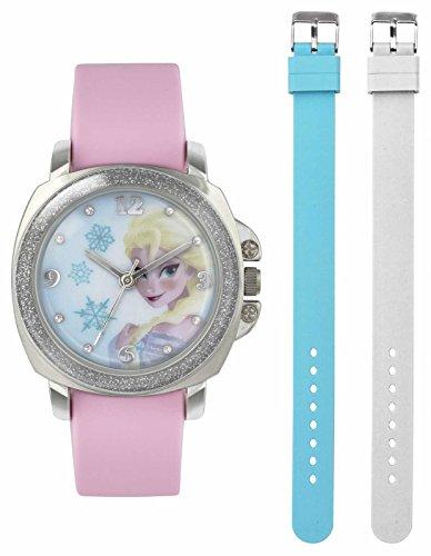 Frozen Maedchen Quarz Uhr mit weissem Zifferblatt Analog Anzeige und Gummiband fzn3637