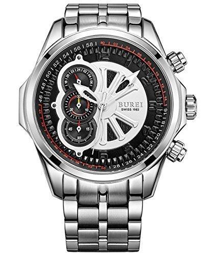 Burei Herren 17002 p51ey Luminous Chronograph Edelstahl Quarz Uhr mit Silber Link Armband