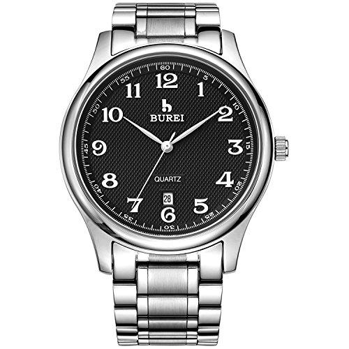 BUREI Analoge Maenner Quartz Armbanduhr mit Schwarzen Ziffernblatt und Edelstahlarmband
