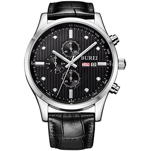 BUREI Herren Armbanduhr Chronograph Tages und Datumsanzeige Edelstahl Stoppuhr mit schwarzem Lederband