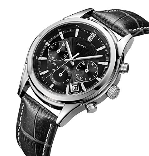 BUREI Herren Armbanduhr Chronograph Stoppuhr mit schwarzem Lederband