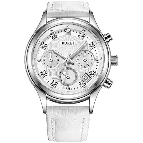 BUREI Damen Armbanduhr Chronograph Stoppuhr mit weissem Lederband