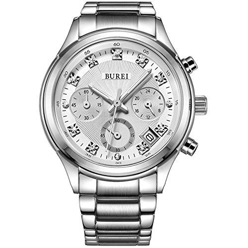 BUREI Damen Armbanduhr Chronograph mit weissem Zifferblatt und Edelstahlarmband