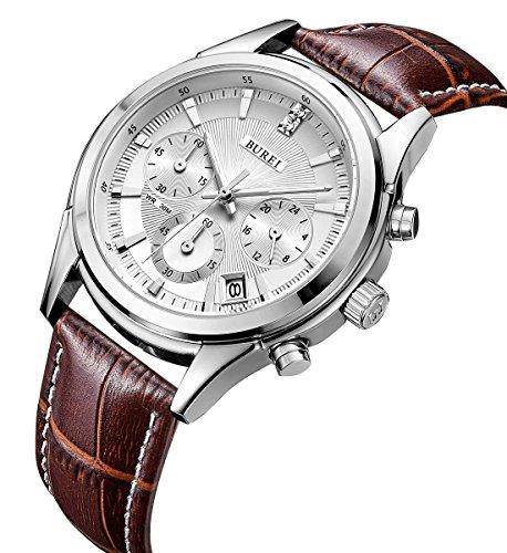 BUREI Herren Armbanduhr Chronograph mit weissem Zifferblatt und braunem Lederband