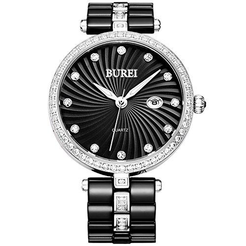 BUREI Damen Armbanduhr mit Datumsanzeige Zifferblatt schwarz Keramik Armband