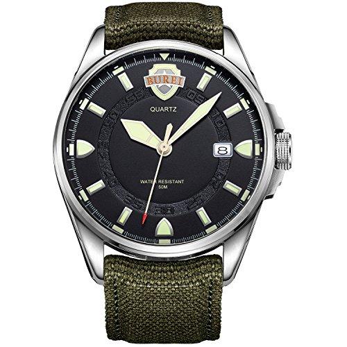Burei Armee Style Outdoors Sport Uhr Datum Quazuhr mit Canvas Armee Gruen Armband Schwarz Silber Zifferblatt