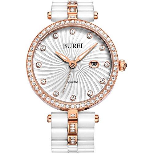 BUREI Damen Armbanduhr mit rose goldfarbenen Akzenten praeziss Quarzuhrenwerk und weisses Keramikarmband
