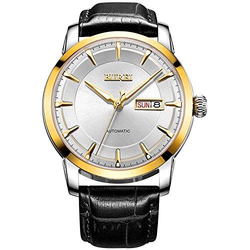 BUREI Unisex Armbanduhr Schwarz Lederband Silbern Zifferblatt Klasse Datum Wasserdicht Analog Uhr
