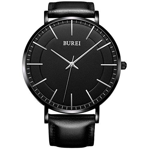BUREI Herren Armbanduhr schwarzes Zifferblatt mit Echtlederband flaches Gehaeuse