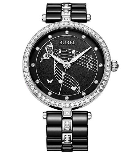 BUREI Damen Quarz Armbanduhr Swarovski Kristalle Keramikband schwarz
