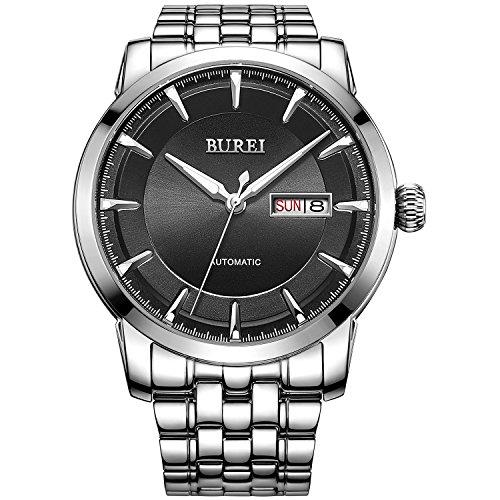 BUREI Datum und Tagesanzeige Business Uhr Edelstahl Armband Wasserdicht Uhr