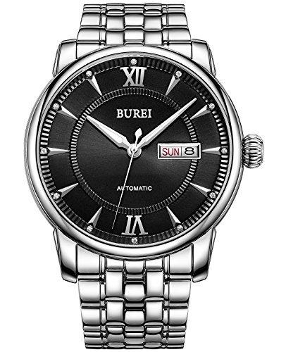 Burei Ultraduennes automatisch Datum silbern Armband schwarz Zifferblatt Wasserdicht Uhr