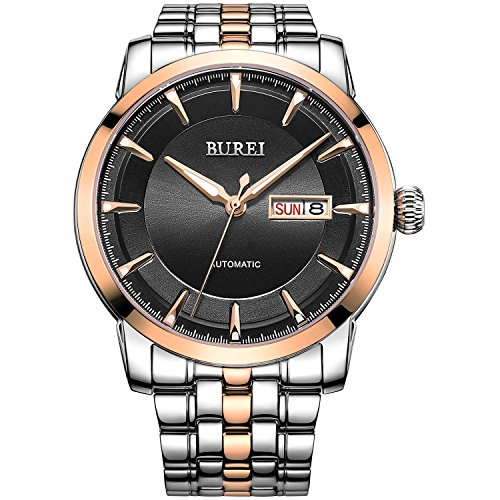 BUREI Wasserdicht Uhr schwarzes mit goldes Zifferblatt Analog Edelstahl Uhr