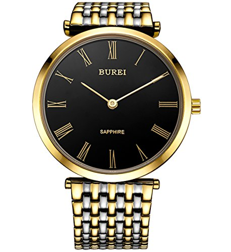 BUREI Herren Armbanduhr mit schwarzem Zifferblatt Goldzeiger Kratzfestes Saphirglas