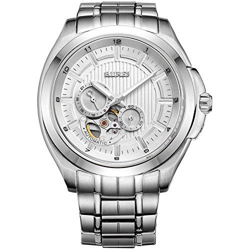 BUREI Herren Armbanduhren Automatik mit kratzfestem Saphirglas und weissem Zifferblatt