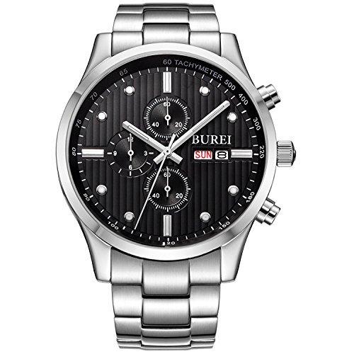 Burei Herren bm 7001 51E Edelstahl Chronograph mit schwarzem Zifferblatt und Link Armband