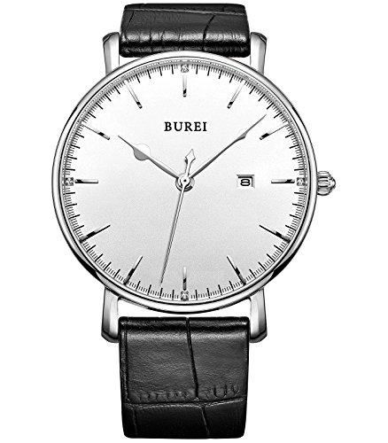 BUREI Unisex Quarz Armbanduhr Datumsanzeige mit Lederarmband Schwarz