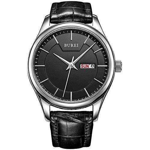 BUREI Damen Quarz Armbanduhr Tages und Datumsanzeige Lederband schwarz