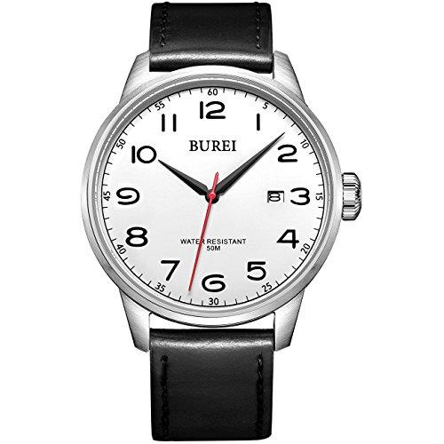 Burei Datum Kalender Quarz einfachen Stil Armbanduhr mit schwarzem Lederband fuer Maenner