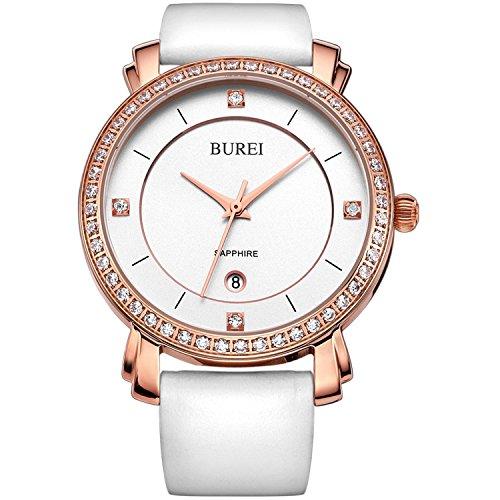 BUREI Damen Quarz Armbanduhr Swarovski Kristalle Rose Gold Lederband weiss