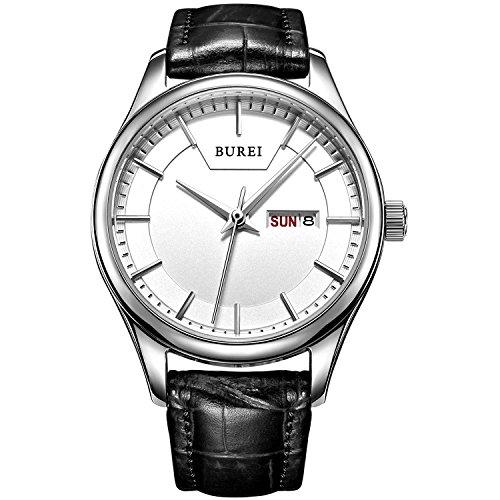 BUREI Damen Quarz Armbanduhr Zifferblatt weiss Lederband schwarz