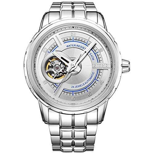 Burei Auotomatische Skeleton Uhr der Maenner Wasserdichte Uhr Stahlqualitaeten Armbanduhr Stahl Armband silbern Uhr Quarz Uhr